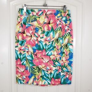 Loft Tropical Floral Denim Pencil Skirt